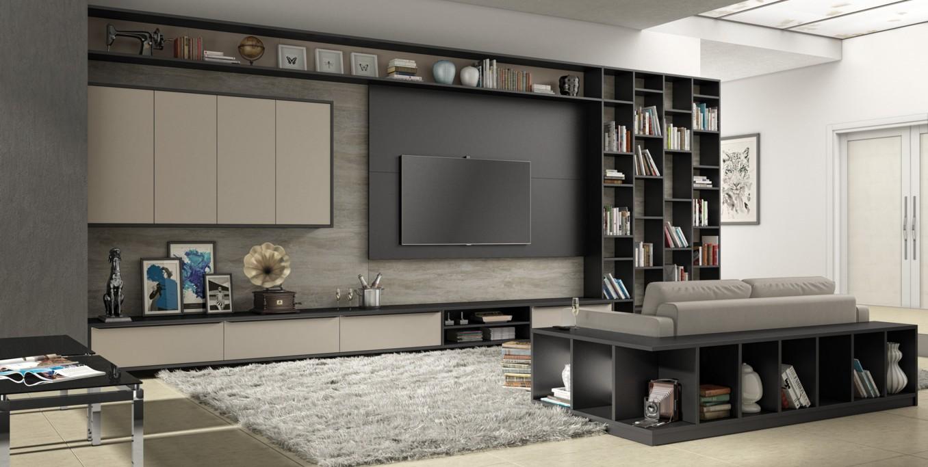 sala de estar home theater planejado atrativa m veis planejados. Black Bedroom Furniture Sets. Home Design Ideas